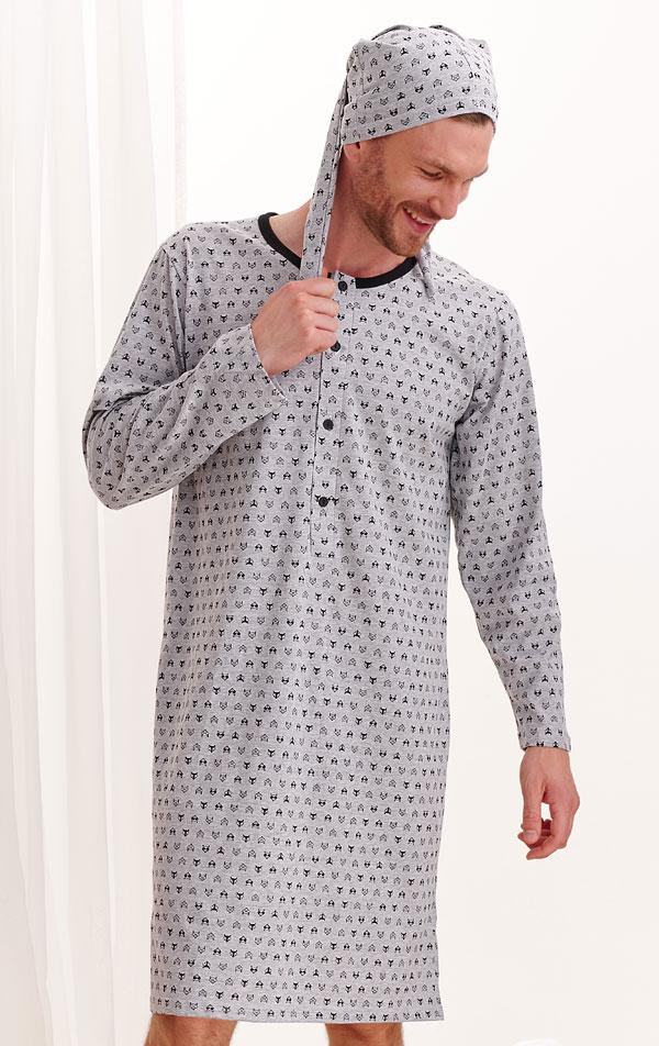Noční košile pánská s čepičkou. 7A521 | PYŽAMA, NOČNÍ KOŠILE LITEX