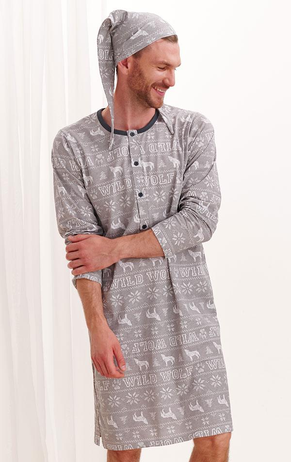 Noční košile pánská s čepičkou. 7A522 | PYŽAMA, NOČNÍ KOŠILE LITEX